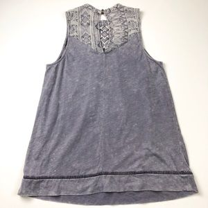 Knox Rose Tops - Knox Rose Purple Embroidered Tank Burnout Top 1